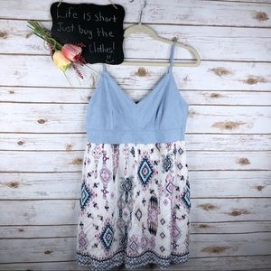 Entro tribal print sleeveless tunic top/mini dress
